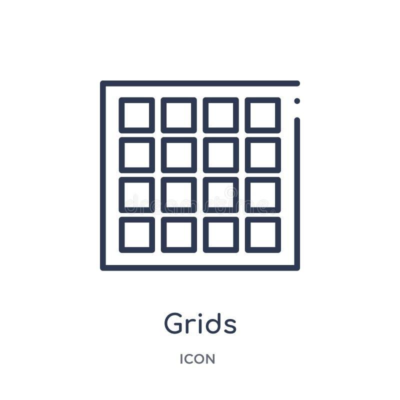 Icône linéaire de grilles de la collection géométrique d'ensemble de figure Ligne mince icône de grilles d'isolement sur le fond  illustration stock