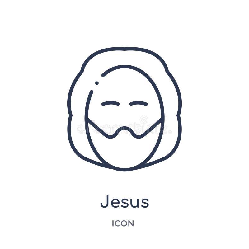 Icône linéaire de Jésus de collection d'ensemble d'éducation Ligne mince vecteur de Jésus d'isolement sur le fond blanc Jésus à l illustration libre de droits