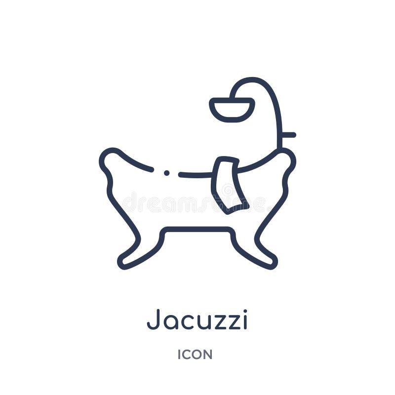 Icône linéaire de jacuzzi de la collection de luxe d'ensemble Ligne mince icône de jacuzzi d'isolement sur le fond blanc jacuzzi  illustration libre de droits