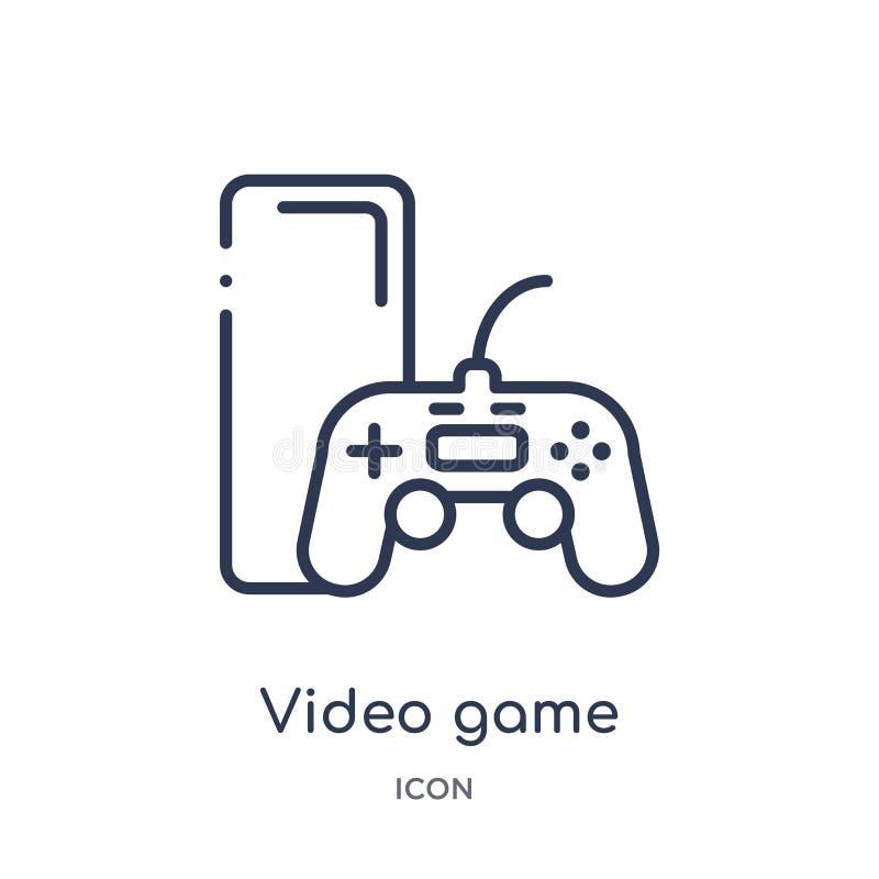 Icône linéaire de jeu vidéo de divertissement et de collection d'ensemble d'arcade Ligne mince vecteur de jeu vidéo d'isolement s illustration libre de droits