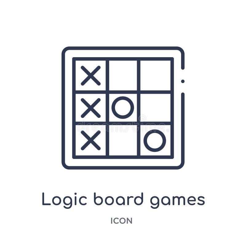Icône linéaire de jeux de société de logique de collection d'ensemble de divertissement Ligne mince icône de jeux de société de l illustration libre de droits