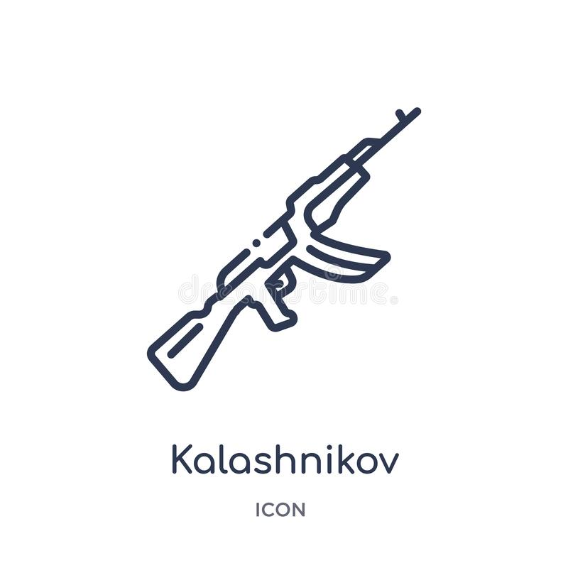 Icône linéaire de kalachnikov de collection d'ensemble d'armée et de guerre Ligne mince vecteur de kalachnikov d'isolement sur le illustration stock