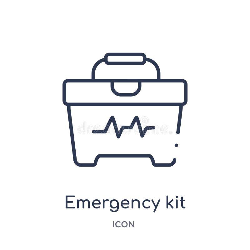 Icône linéaire de kit de secours de la collection médicale d'ensemble Ligne mince icône de kit de secours d'isolement sur le fond illustration libre de droits