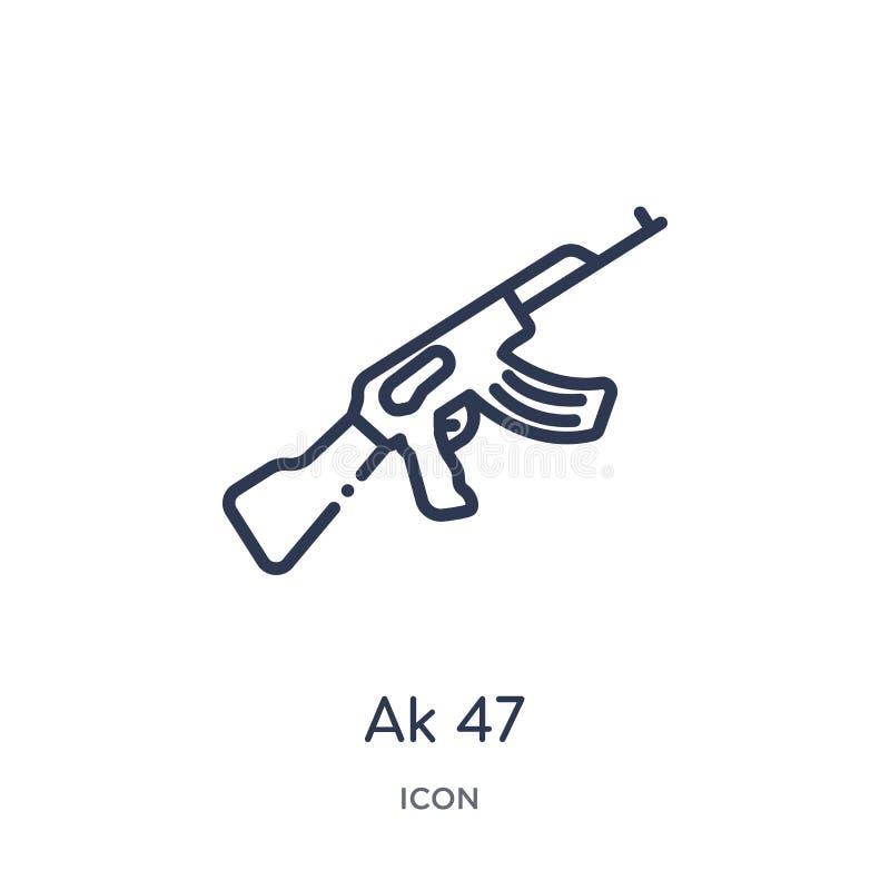 Icône linéaire de l'ak 47 de collection d'ensemble d'armée et de guerre Ligne mince vecteur de l'ak 47 d'isolement sur le fond bl illustration stock