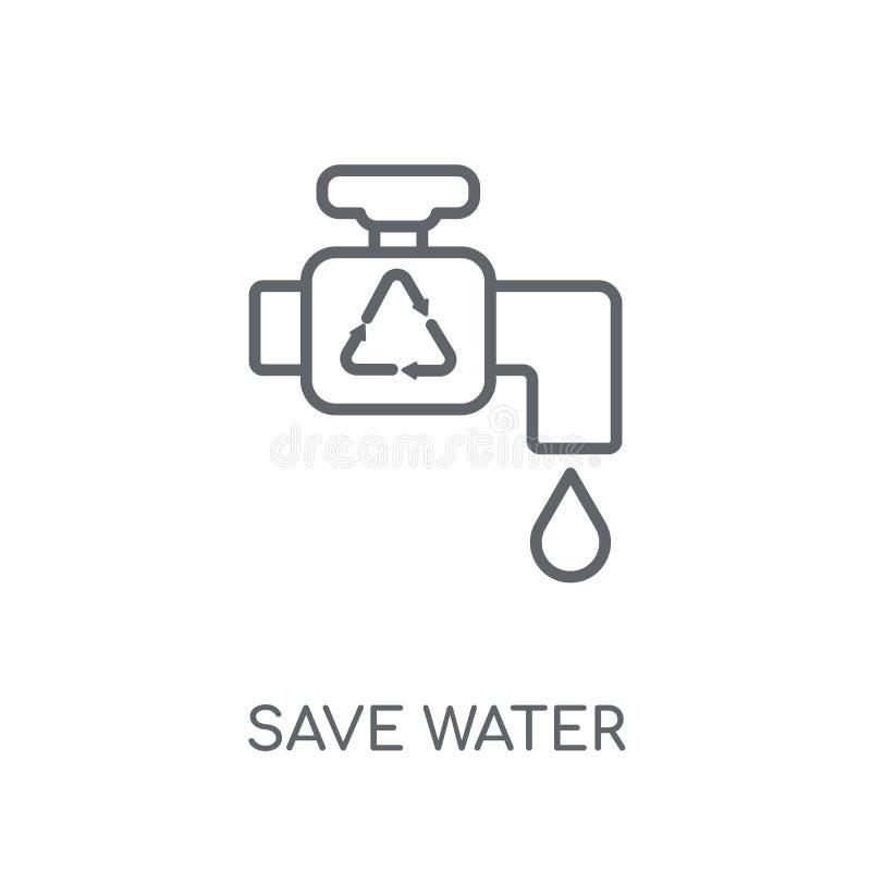 Icône linéaire de l'eau de sauvegarde Concept moderne o de logo de l'eau d'économies d'ensemble illustration stock