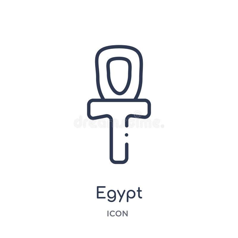 Icône linéaire de l'Egypte de collection d'ensemble d'histoire Ligne mince icône de l'Egypte d'isolement sur le fond blanc illust illustration libre de droits