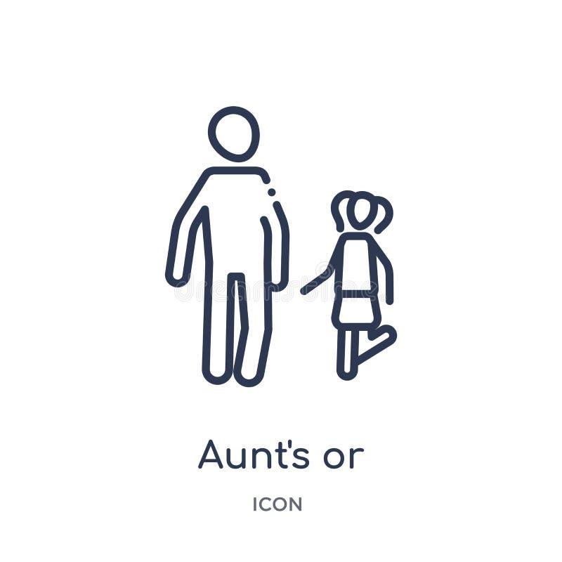 Icône linéaire de l'enfant de la tante ou de l'oncle de collection d'ensemble de relations de famille Ligne tante mince ou isolat illustration stock