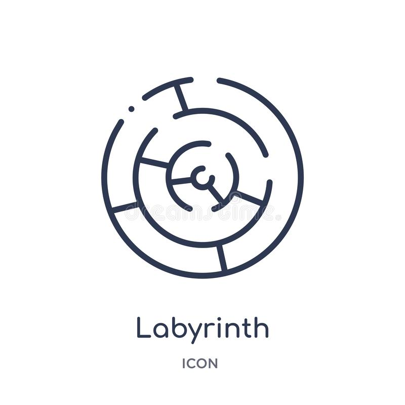 Icône linéaire de labyrinthe de collection d'ensemble de la Grèce Ligne mince icône de labyrinthe d'isolement sur le fond blanc l illustration stock