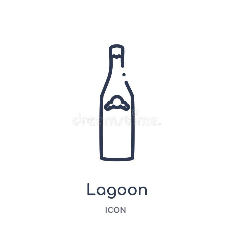 Icône linéaire de lagune de collection d'ensemble de boissons Ligne mince vecteur de lagune d'isolement sur le fond blanc lagune  illustration de vecteur