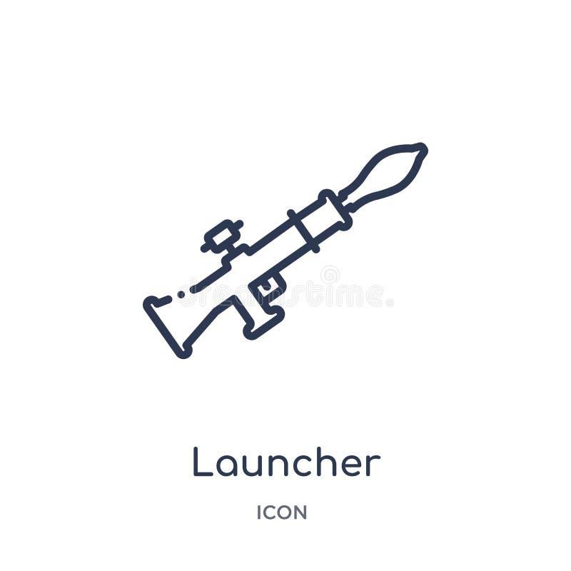 Icône linéaire de lanceur de collection d'ensemble d'armée et de guerre Ligne mince vecteur de lanceur d'isolement sur le fond bl illustration stock