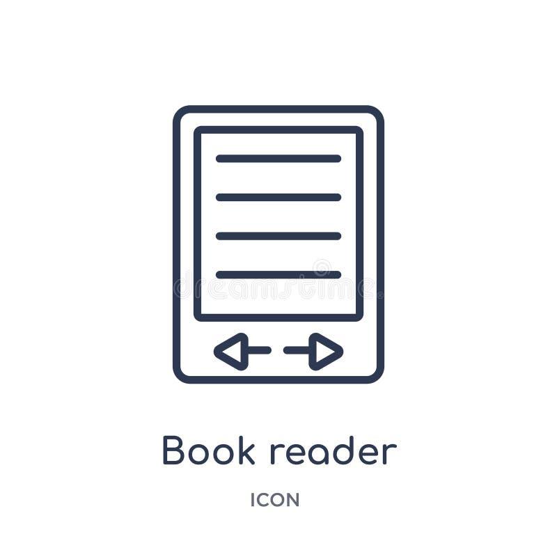 Icône linéaire de lecteur de livre de collection d'ensemble d'appareils électroniques Ligne mince vecteur de lecteur de livre d'i illustration de vecteur