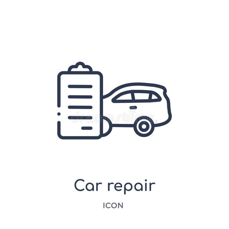 Icône linéaire de liste de contrôle de réparation de voiture de collection d'ensemble de Mechanicons Ligne mince icône de liste d illustration de vecteur