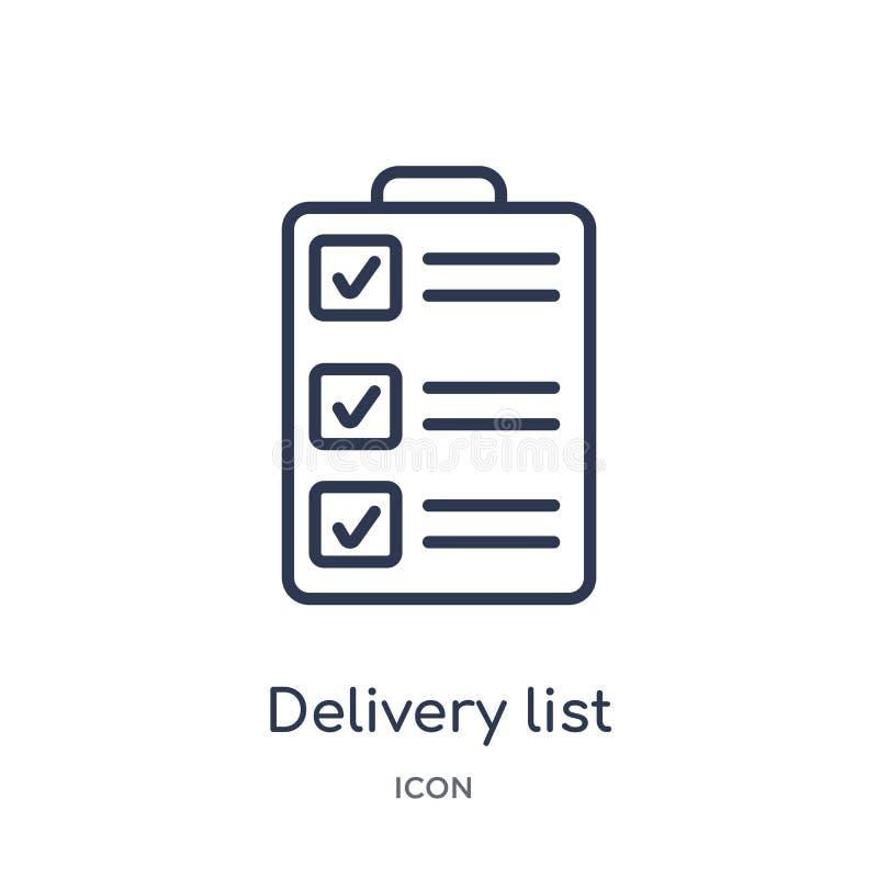 Icône linéaire de liste de la livraison de la livraison et de la collection logistique d'ensemble Ligne mince vecteur de liste de illustration de vecteur