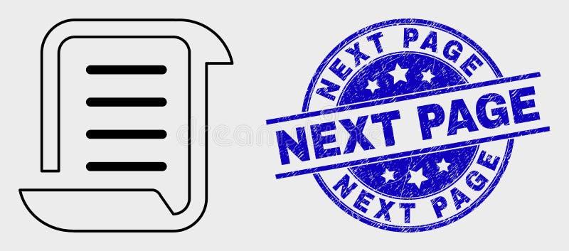 Icône linéaire de liste de rouleau de vecteur et prochain joint rayé de timbre de page illustration libre de droits