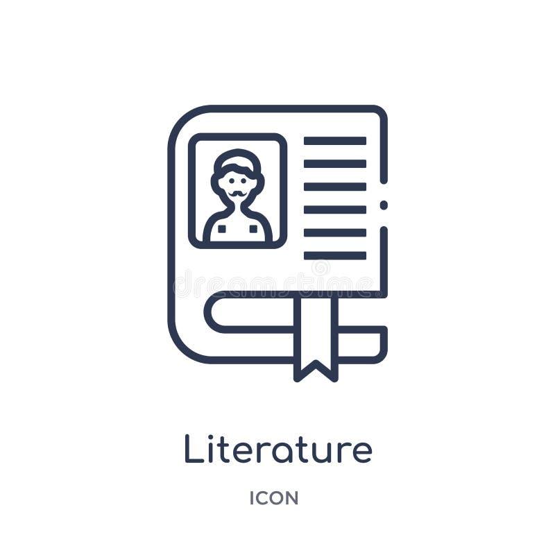 Icône linéaire de littérature de collection d'ensemble de Blogger et d'influencer Ligne mince vecteur de littérature d'isolement  illustration de vecteur
