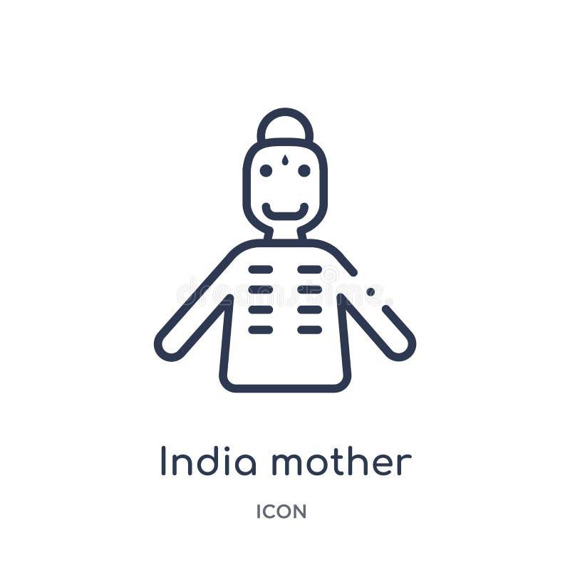 Icône linéaire de mère de l'Inde de collection d'ensemble de l'Inde Ligne mince icône de mère de l'Inde d'isolement sur le fond b illustration stock