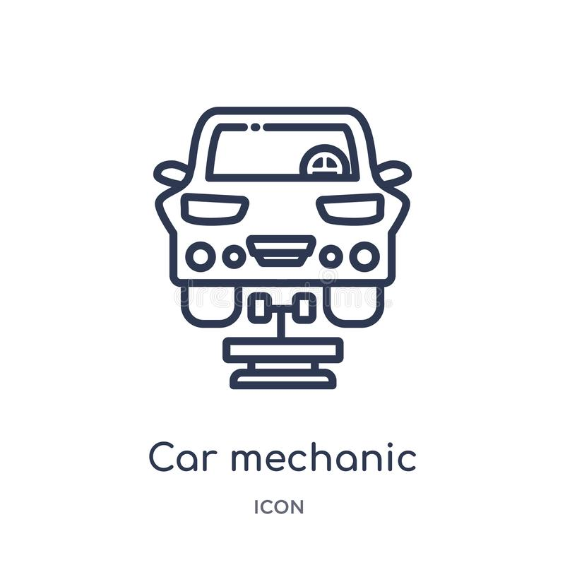 Icône linéaire de mécanicien de voiture de collection d'ensemble d'industrie Ligne mince icône de mécanicien de voiture d'isoleme illustration libre de droits