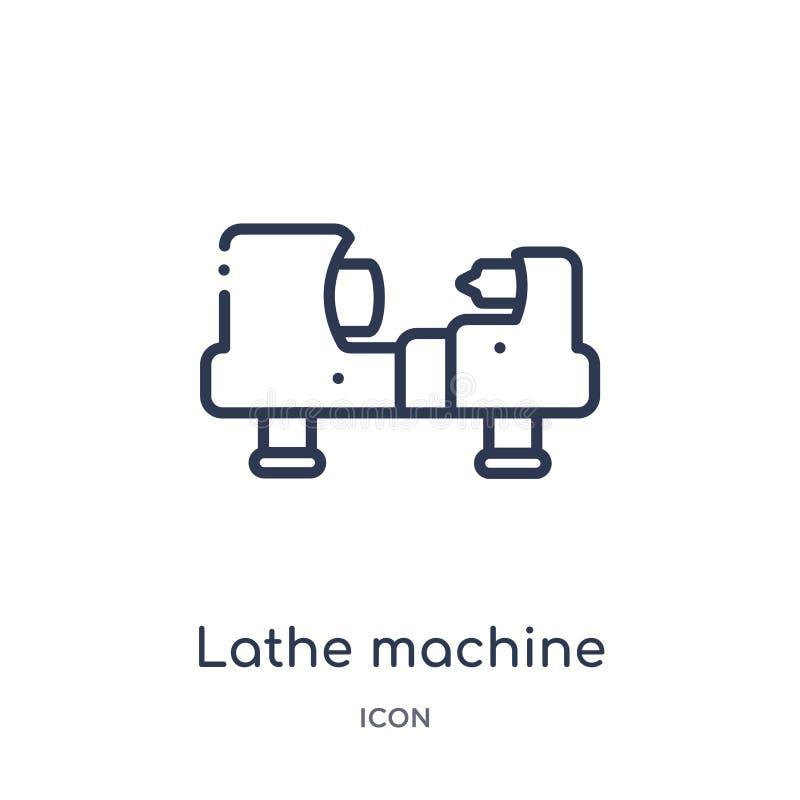 Icône linéaire de machine de tour de collection d'ensemble d'industrie Ligne mince icône de machine de tour d'isolement sur le fo illustration de vecteur