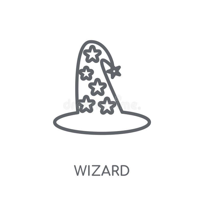 Icône linéaire de magicien Concept moderne de logo de magicien d'ensemble sur le blanc illustration de vecteur