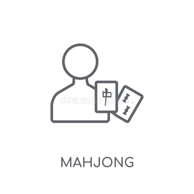 Icône linéaire de Mahjong Concept moderne de logo de Mahjong d'ensemble sur le petit morceau illustration de vecteur