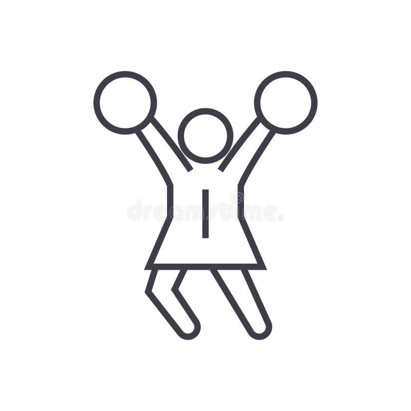 Icône linéaire de majorette, signe, symbole, vecteur sur le fond d'isolement illustration stock