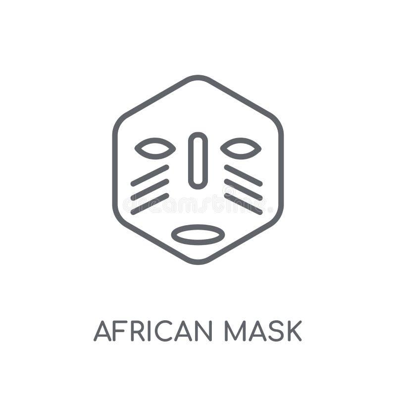 Icône linéaire de masque africain Conce africain de logo de masque d'ensemble moderne illustration de vecteur
