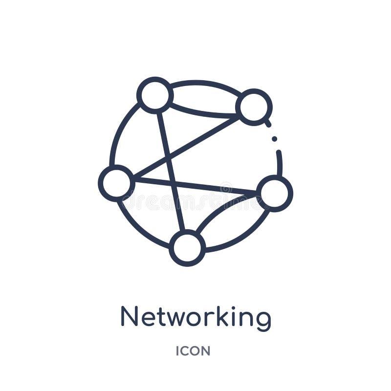 Icône linéaire de mise en réseau de collection d'ensemble de ressources humaines Ligne mince icône de mise en réseau d'isolement  illustration stock