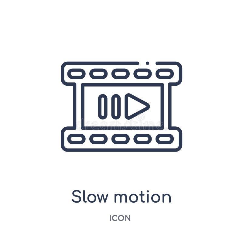 Icône linéaire de mouvement lent de collection d'ensemble de cinéma Ligne mince vecteur de mouvement lent d'isolement sur le fond illustration libre de droits
