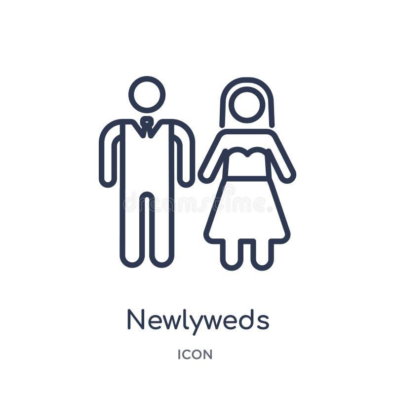 Icône linéaire de nouveaux mariés de collection d'ensemble de fête d'anniversaire La ligne mince nouveaux mariés dirigent d'isole illustration de vecteur