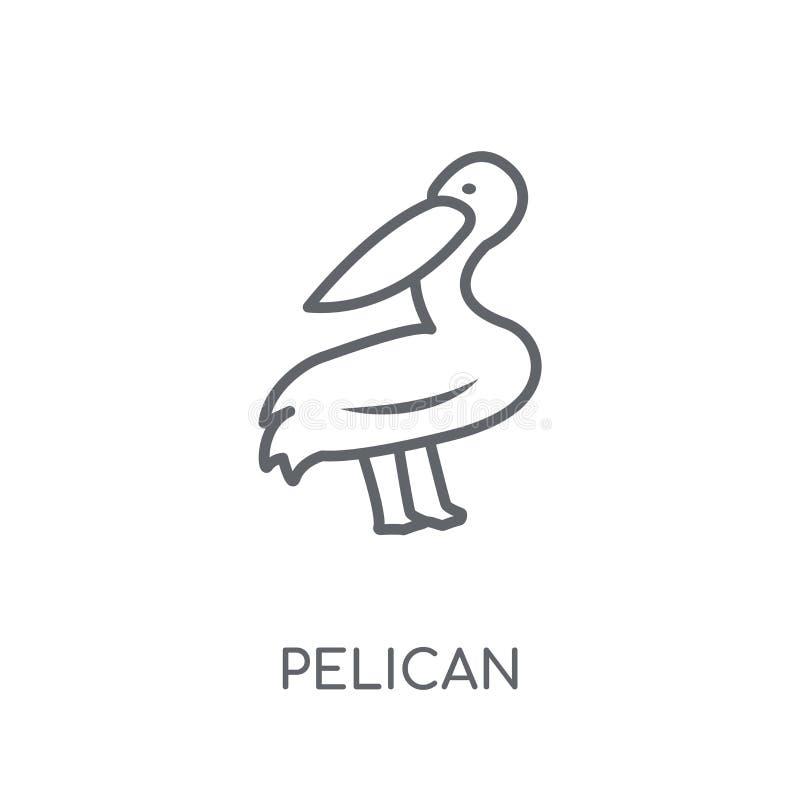 Icône linéaire de pélican Concept moderne de logo de pélican d'ensemble sur le petit morceau illustration stock