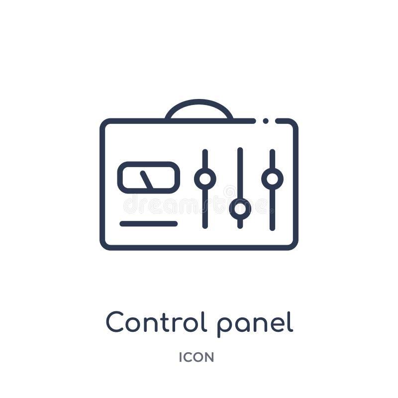 Icône linéaire de panneau de commande de collection d'ensemble d'industrie Icône à contrôle de ligne mince de panneau d'isolement illustration libre de droits