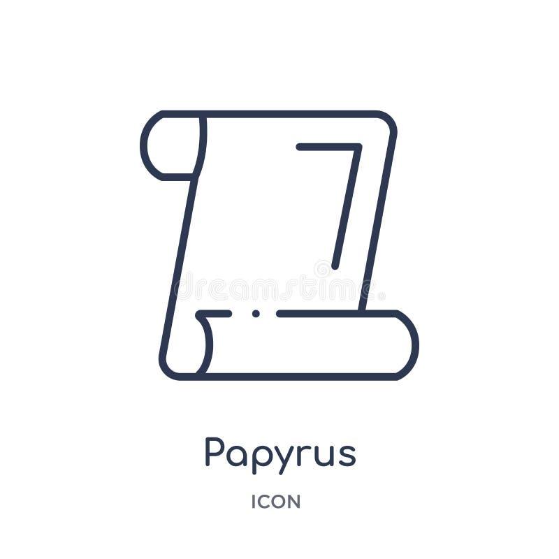 Icône linéaire de papyrus de collection d'ensemble d'éducation Ligne mince vecteur de papyrus d'isolement sur le fond blanc papyr illustration de vecteur
