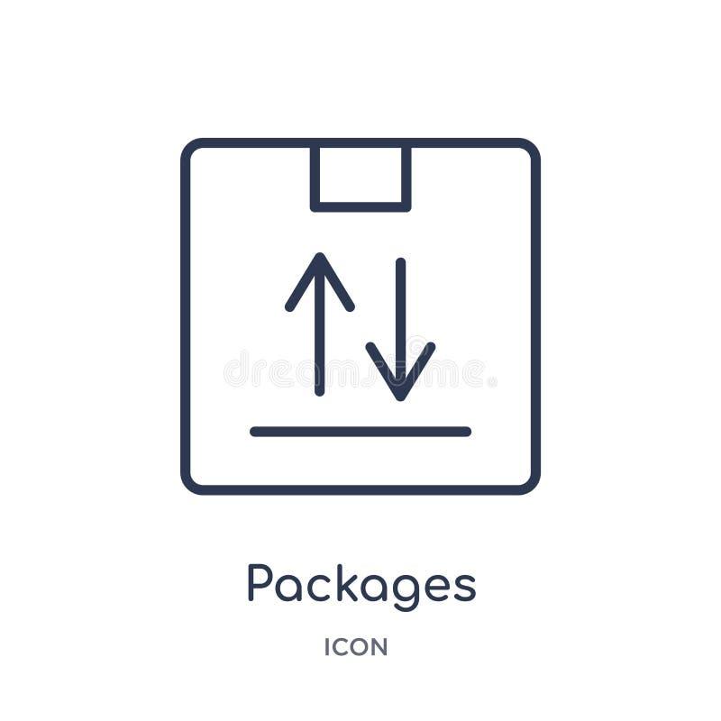 Icône linéaire de paquets de la livraison et de la collection logistique d'ensemble La ligne mince paquets dirigent d'isolement s illustration de vecteur