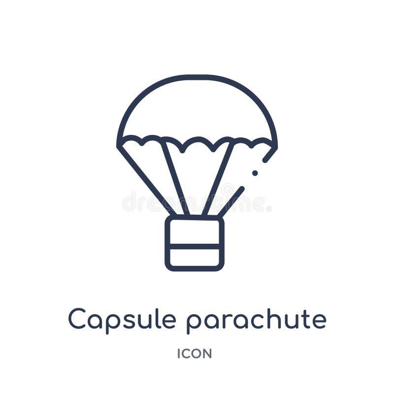 Icône linéaire de parachute de capsule de collection d'ensemble d'astronomie Ligne mince vecteur de parachute de capsule d'isolem illustration libre de droits
