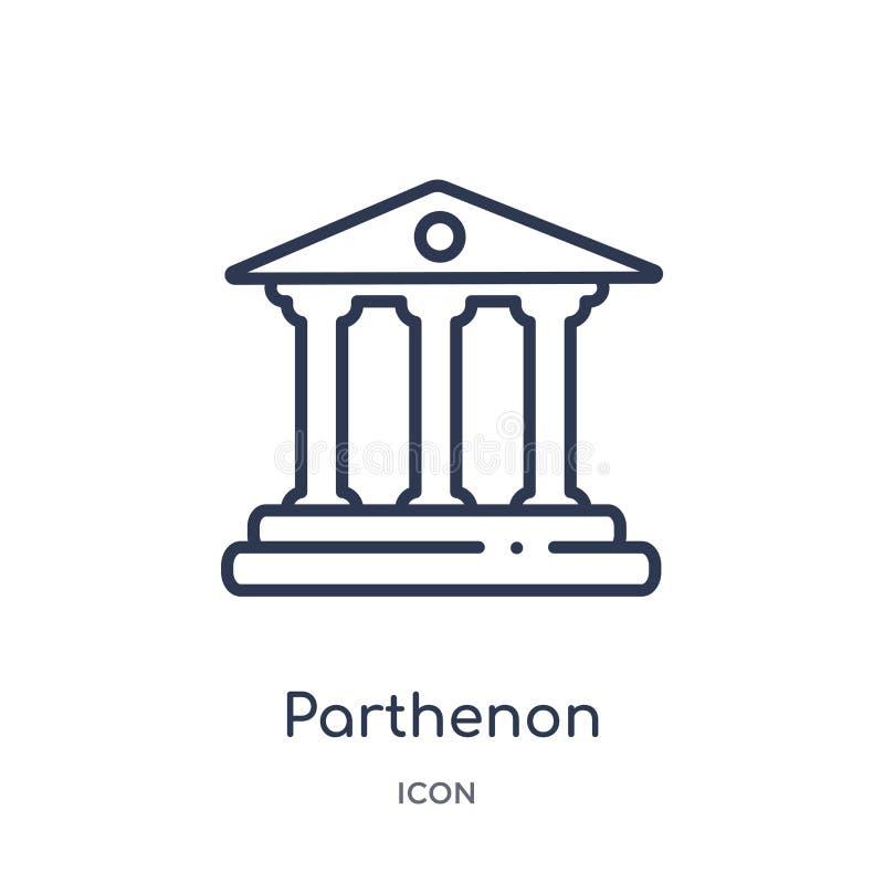 Icône linéaire de parthenon de collection d'ensemble de la Grèce Ligne mince icône de parthenon d'isolement sur le fond blanc par illustration de vecteur