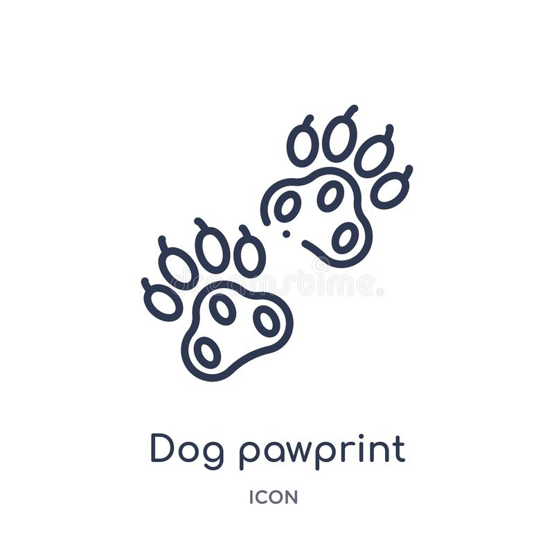 Icône linéaire de pawprint de chien de collection d'ensemble de charité Ligne mince vecteur de pawprint de chien d'isolement sur  illustration libre de droits