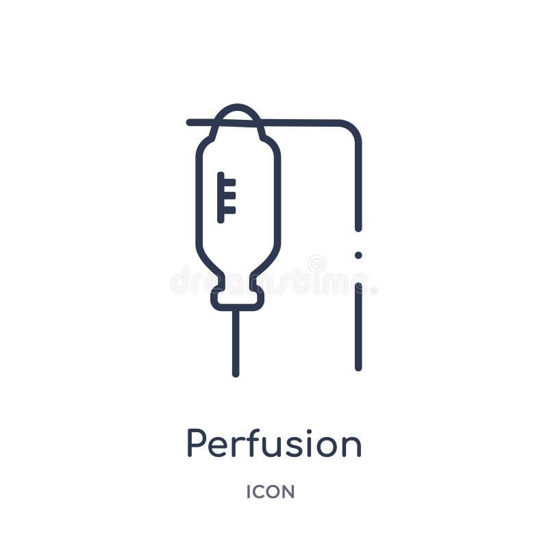 Icône linéaire de perfusion de la collection médicale d'ensemble Ligne mince icône de perfusion d'isolement sur le fond blanc per illustration stock