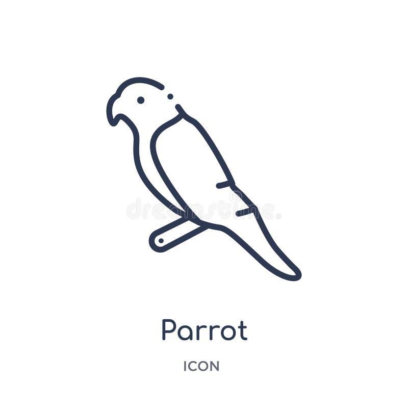 Icône linéaire de perroquet de collection d'ensemble de Brazilia Ligne mince vecteur de perroquet d'isolement sur le fond blanc p illustration libre de droits