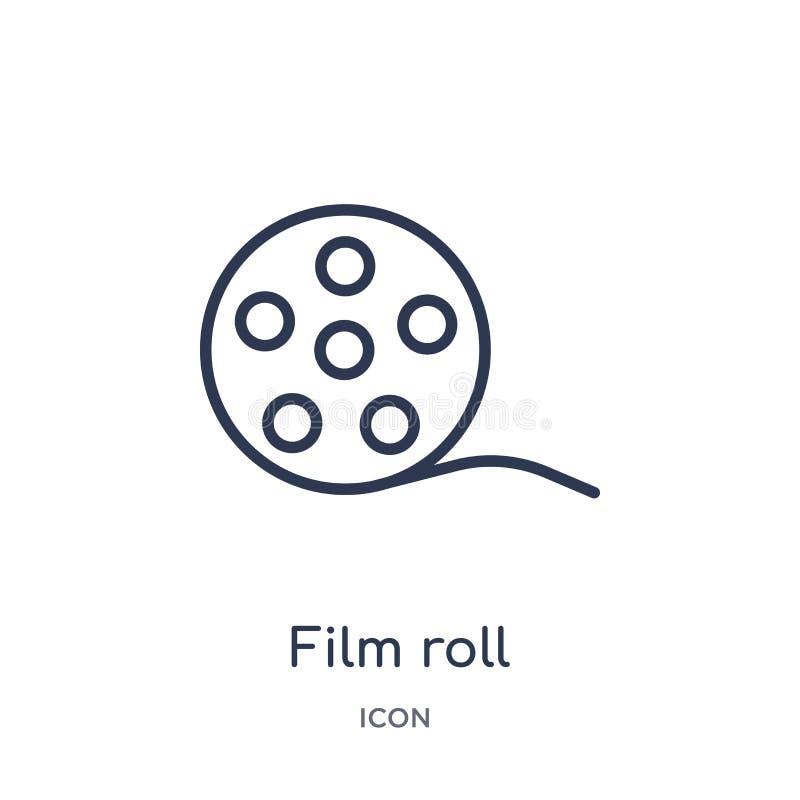 Icône linéaire de petit pain de film de la collection électronique d'ensemble de suffisance de substance Ligne mince vecteur de p illustration de vecteur