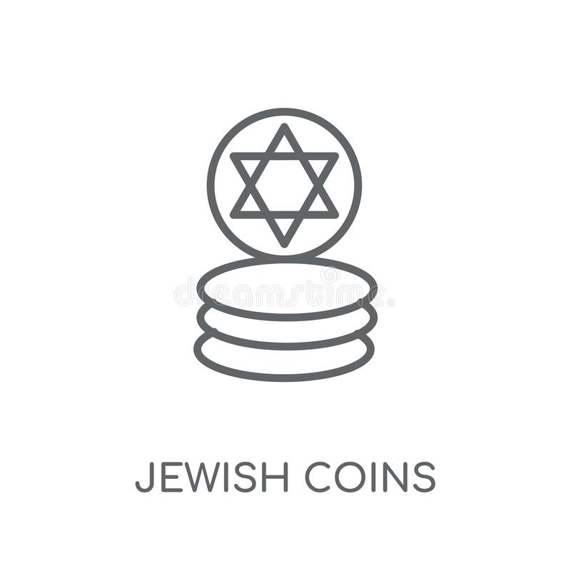 Icône linéaire de pièces de monnaie juives Conce juif de logo de pièces de monnaie d'ensemble moderne illustration stock