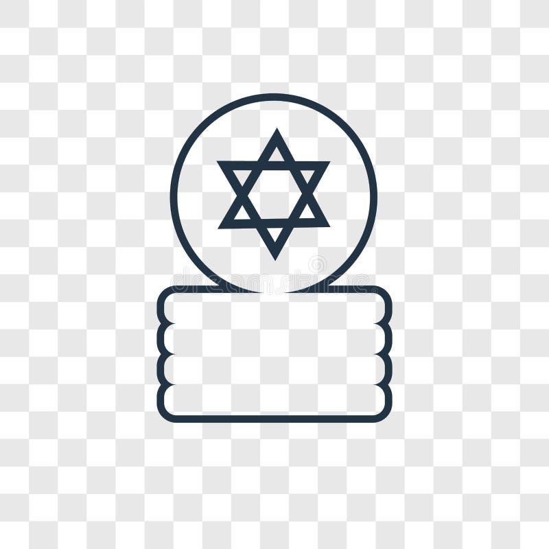 Icône linéaire de pièces de monnaie de vecteur juif de concept d'isolement sur transparent illustration libre de droits
