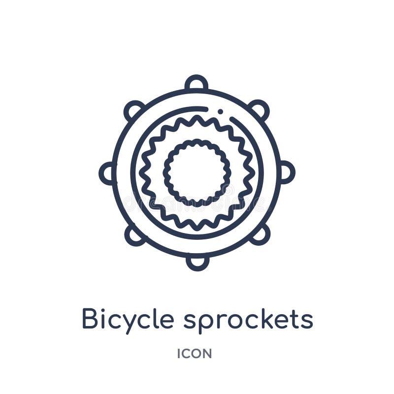 Icône linéaire de pignons de bicyclette de collection d'ensemble de Mechanicons Ligne mince icône de pignons de bicyclette d'isol illustration libre de droits