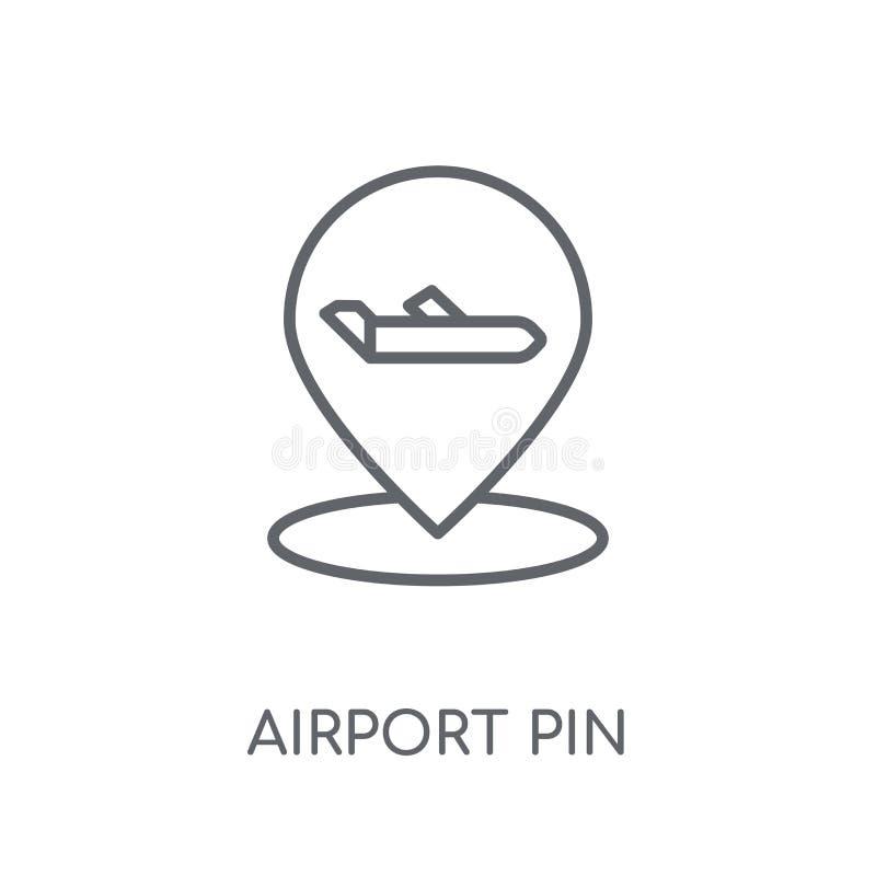 Icône linéaire de Pin d'aéroport Concept moderne de logo de Pin d'aéroport d'ensemble illustration stock