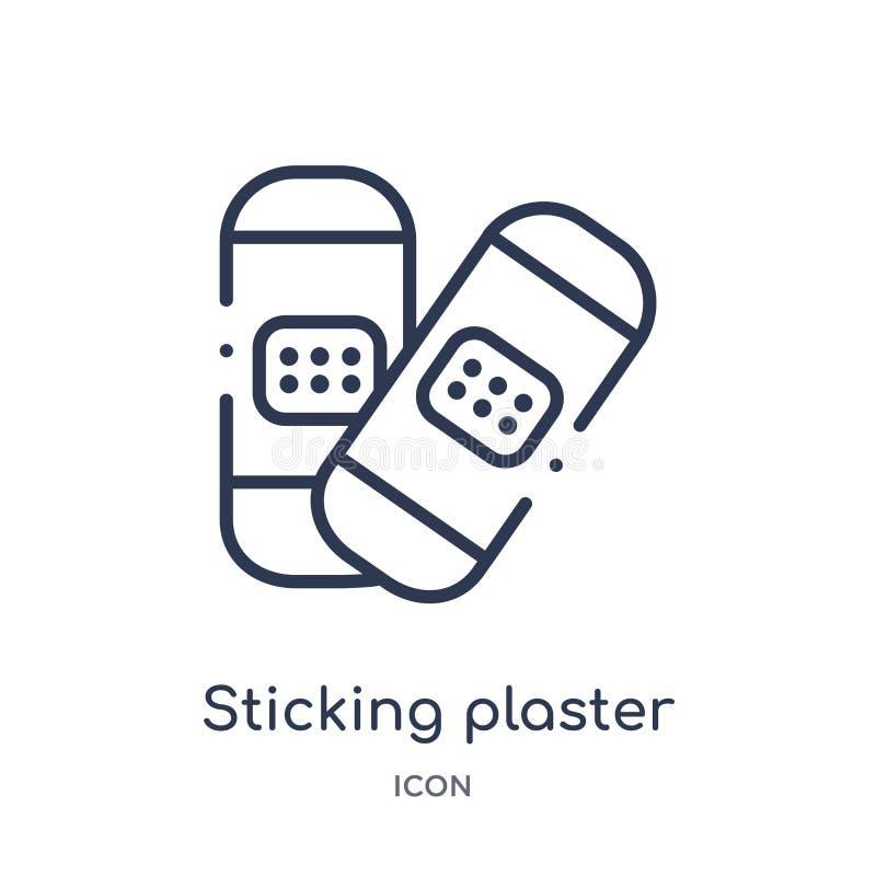 Icône linéaire de plâtre de collage de la collection médicale d'ensemble Ligne mince icône de plâtre de collage d'isolement sur l illustration libre de droits
