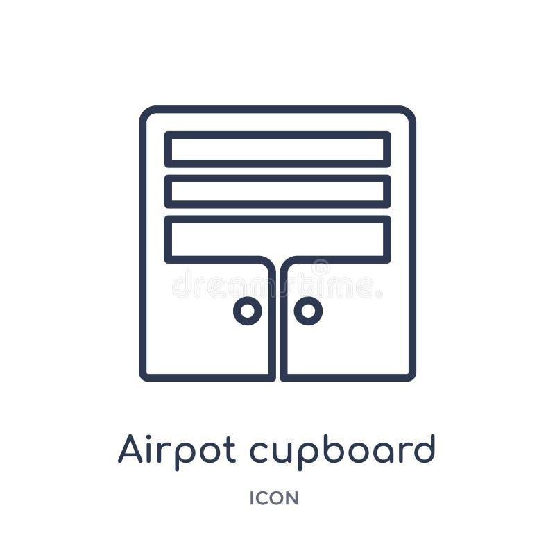 Icône linéaire de placard d'airpot de collection d'ensemble de terminal d'aéroport Ligne mince vecteur de placard d'airpot d'isol illustration de vecteur