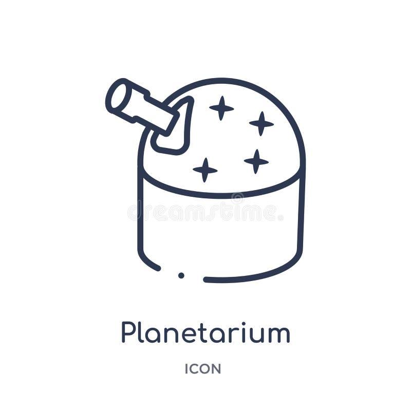 Icône linéaire de planétarium de collection d'ensemble d'astronomie Ligne mince vecteur de planétarium d'isolement sur le fond bl illustration de vecteur