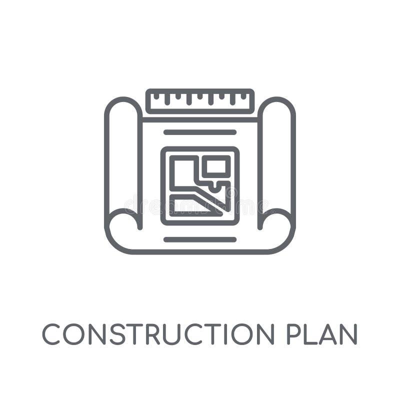 Icône linéaire de plan de construction Plan moderne de construction d'ensemble illustration de vecteur