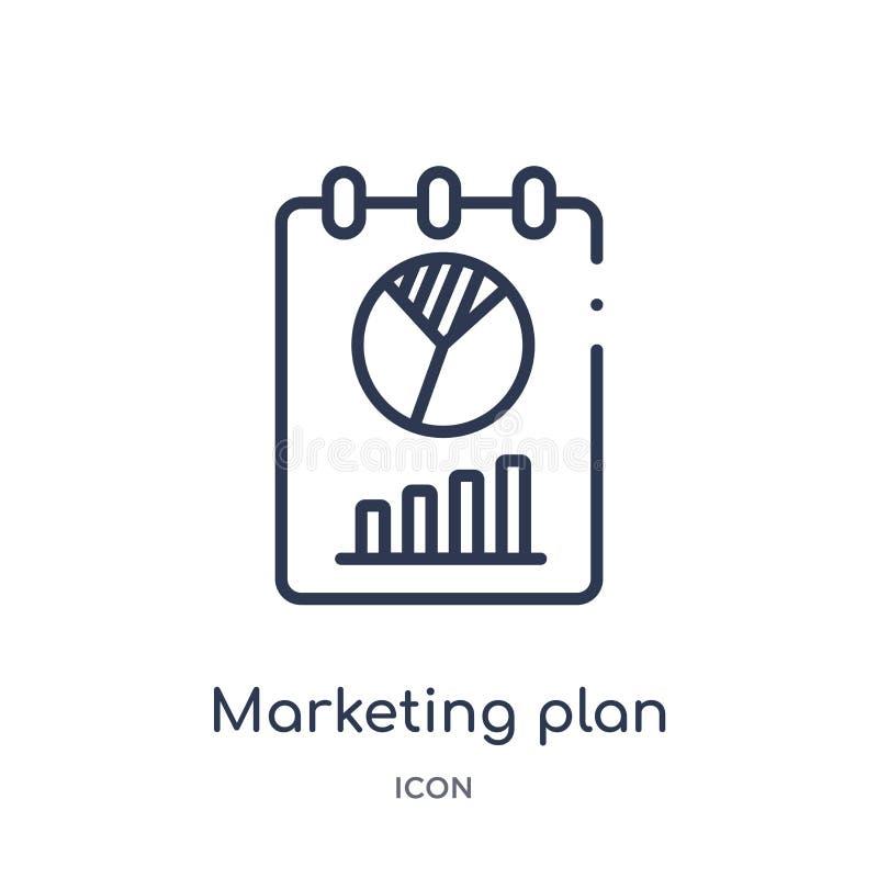Icône linéaire de plan marketing de collection d'ensemble général Ligne mince icône de plan marketing d'isolement sur le fond bla illustration libre de droits