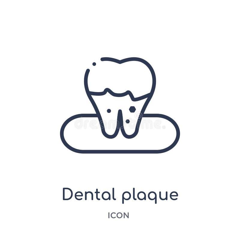Icône linéaire de plaque dentaire de collection d'ensemble de dentiste Ligne mince icône de plaque dentaire d'isolement sur le fo illustration stock