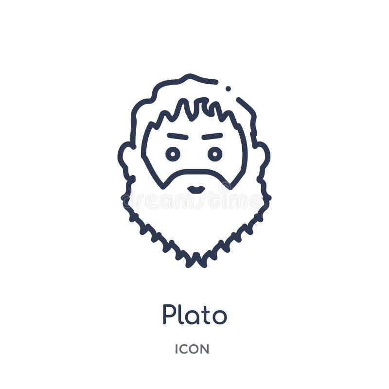 Icône linéaire de platon de collection d'ensemble de la Grèce Ligne mince icône de platon d'isolement sur le fond blanc illustrat illustration stock